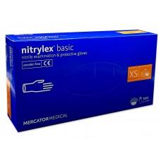 Перчатки нитриловые Nitrylex basic неопудренные медицинские 100шт. синие размер XS