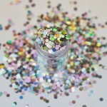 Серебристые голограммные крупные пайетки Lecente Night Fever Disco Balls Glitter Shapes (8г) Фото 3
