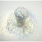 Білий мульти-глітер Lecente Golden White Multi Glitz Chunky Glitter (6,5 г)
