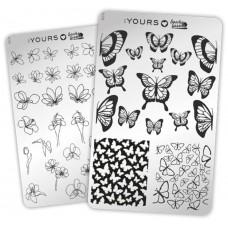 Двухсторонняя пластина для стемпинга :YOURS Loves Sascha Butterfly Garden YLS34